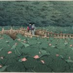 The Pond at Benten Shrine in Shiba, by Kawase Hasui