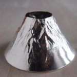 Beautiful tin Mt. Fuji sake cup of NOUSAKU