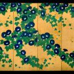 Screen painting of Morning Glories by Suzuki Kiitsu