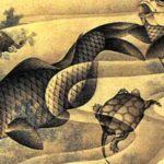 Hokusai's Carps and Turtles painting