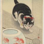 Goldfish Bowl and Cat by Ohara Koson