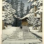 Konjikido in Snow, Hiraizumi by Kawase Hasui