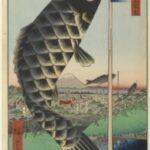 Shops with Cotton Goods in Ōdenma-chō, by Utagawa Hiroshige