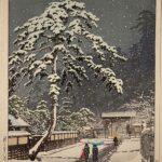 Honmon-ji Temple in Ikegami, by Kawase Hasui